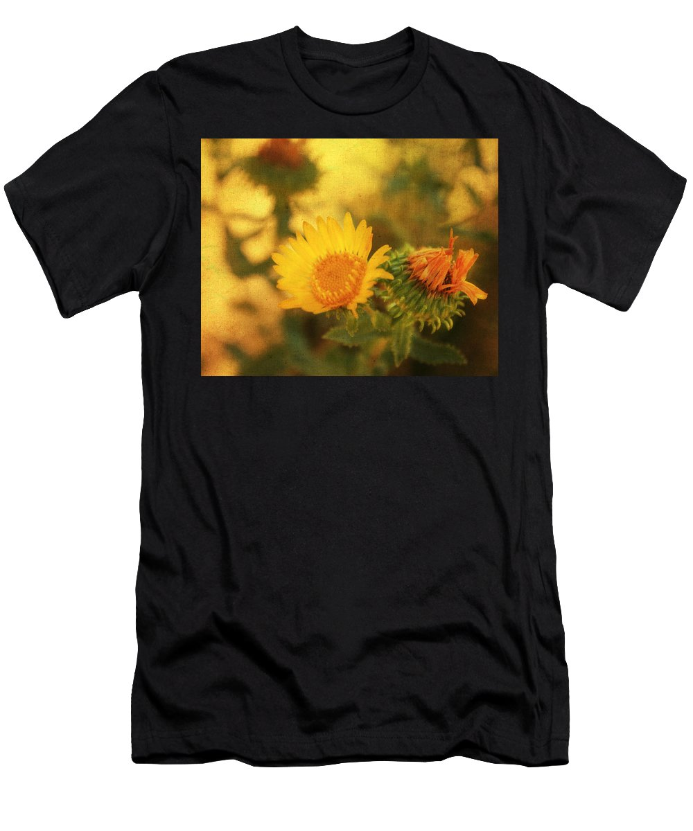 Floral Print Men's T-Shirt (Athletic Fit) featuring the mixed media Wild Flower by Julie Hamilton