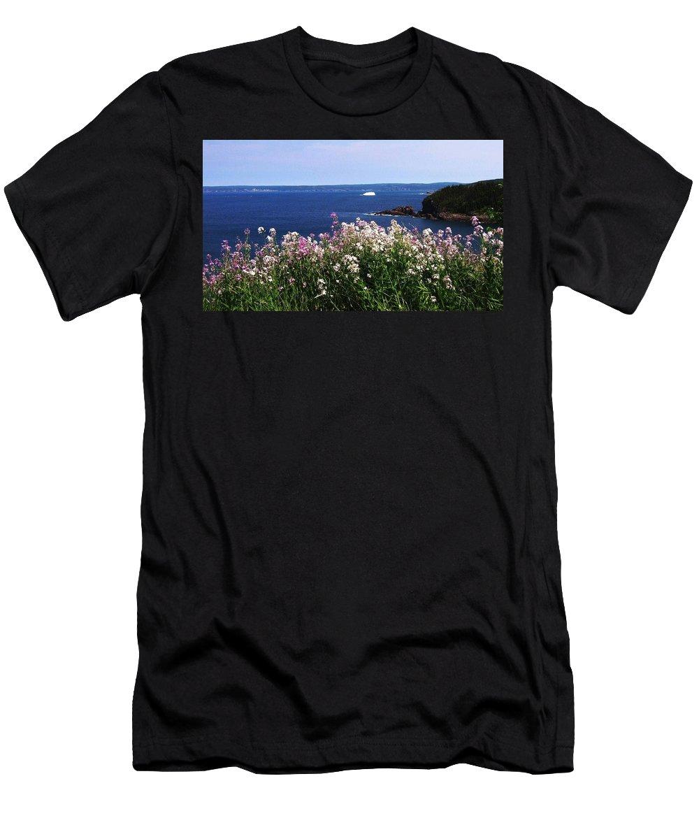 Photograph Iceberg Wild Flower Atlantic Ocean Newfoundland Men's T-Shirt (Athletic Fit) featuring the photograph Wild Flowers And Iceberg by Seon-Jeong Kim