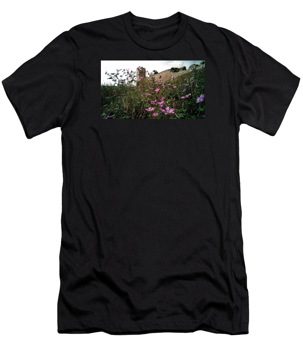 Wild Men's T-Shirt (Athletic Fit) featuring the photograph Wild Flowers At The Old Fortress by Yuri Hope