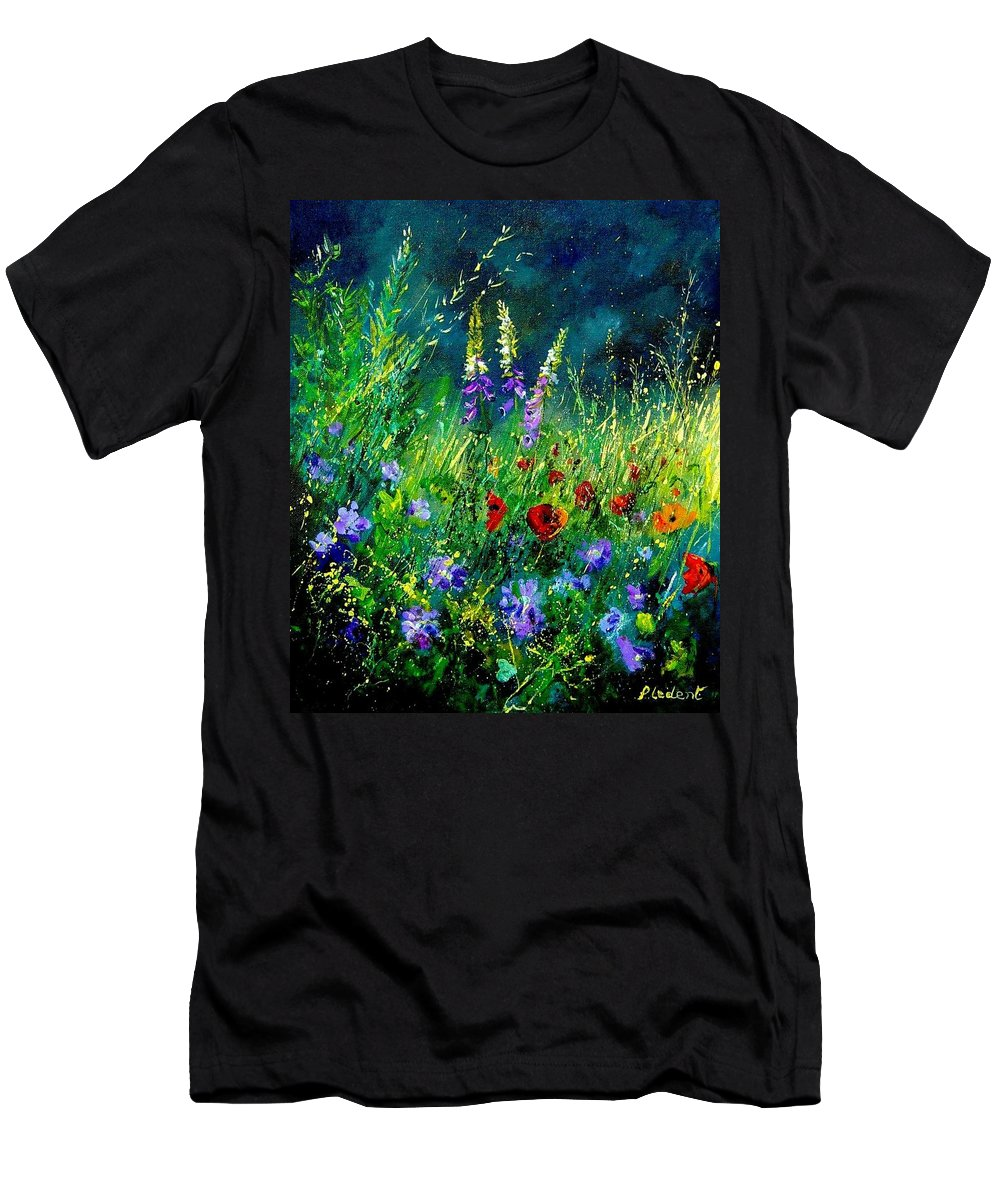 Poppies Men's T-Shirt (Athletic Fit) featuring the painting Wild Flowers by Pol Ledent