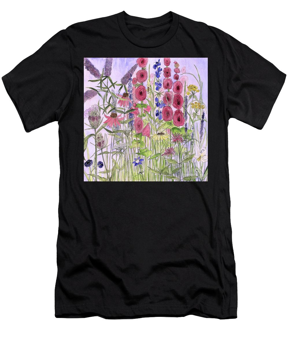 Nature Art Men's T-Shirt (Athletic Fit) featuring the painting Wild Garden Flowers by Laurie Rohner