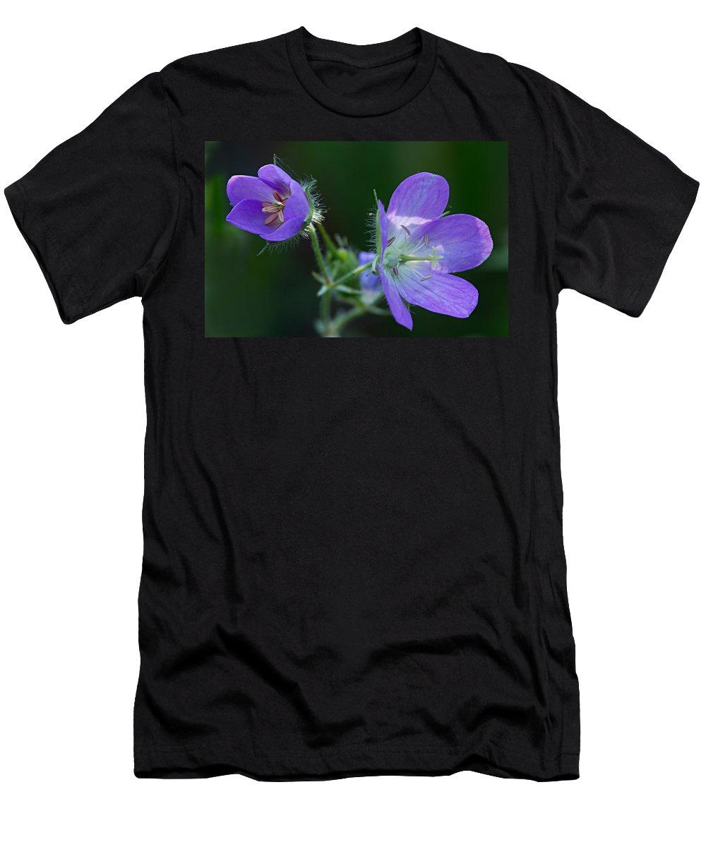Geranium Men's T-Shirt (Athletic Fit) featuring the photograph Wild Geraniums by Larry Ricker