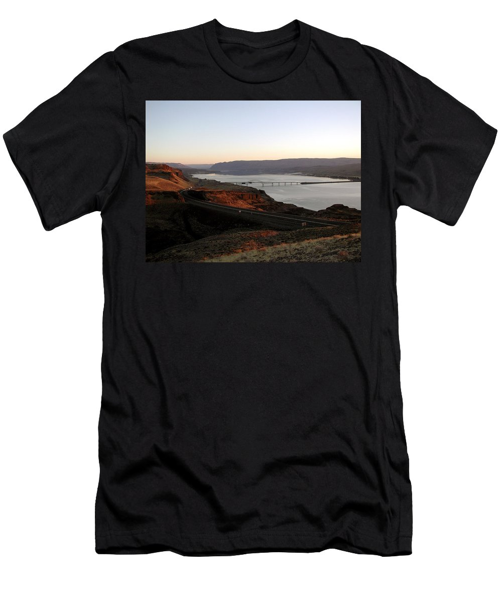Columbia River Men's T-Shirt (Athletic Fit) featuring the photograph Wild Horse Lookout - Washington by D'Arcy Evans