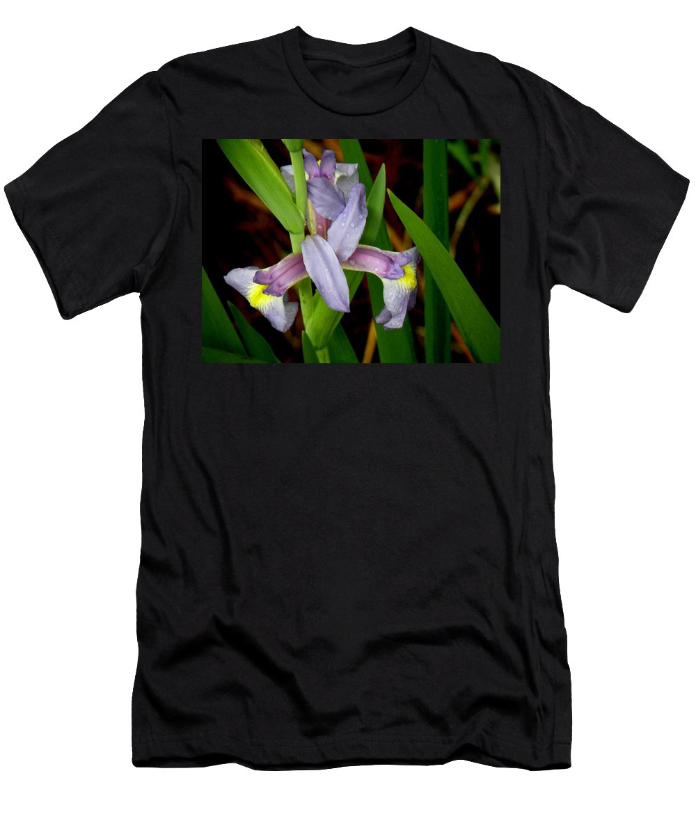 Flowers Men's T-Shirt (Athletic Fit) featuring the photograph Wild Iris by Rosalie Scanlon