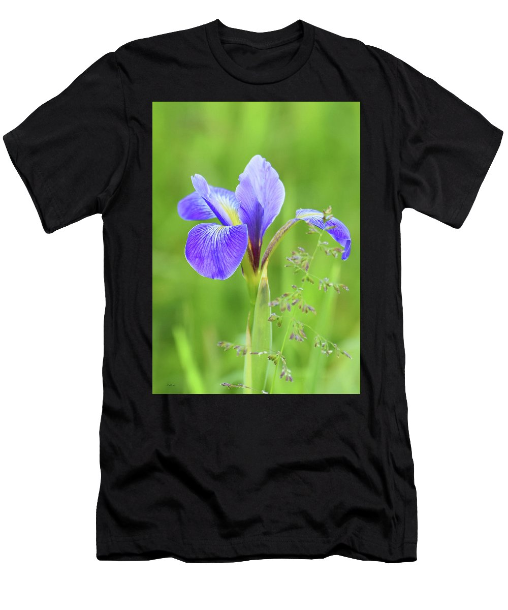 Wild Iris Men's T-Shirt (Athletic Fit) featuring the photograph Wild Iris by Sally Sperry