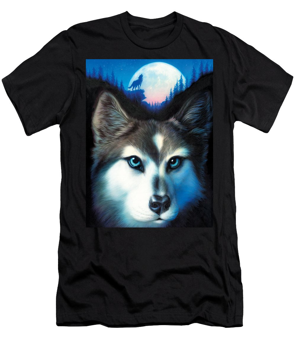 Wolf T-Shirt featuring the photograph Wild One by MGL Meiklejohn Graphics Licensing