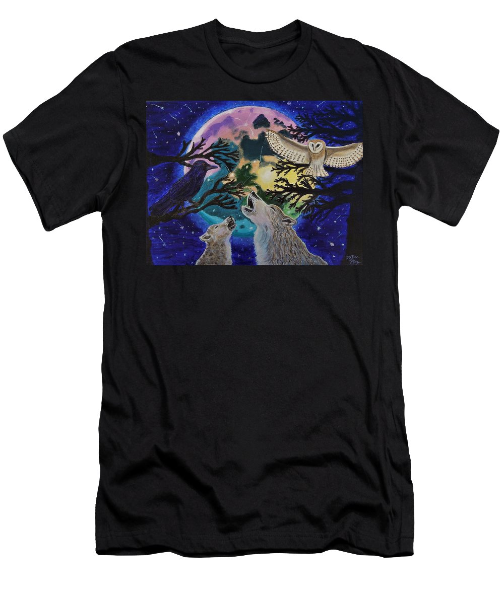 Animals Men's T-Shirt (Athletic Fit) featuring the painting Wild Rainbow Moon by DeeDee Maz