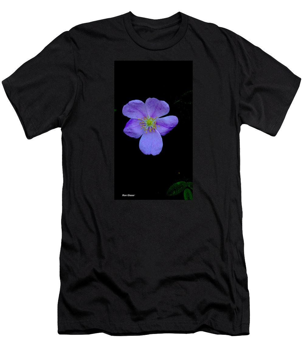 Ron Glaser Men's T-Shirt (Athletic Fit) featuring the photograph Wild Rose 5 by Ron Glaser