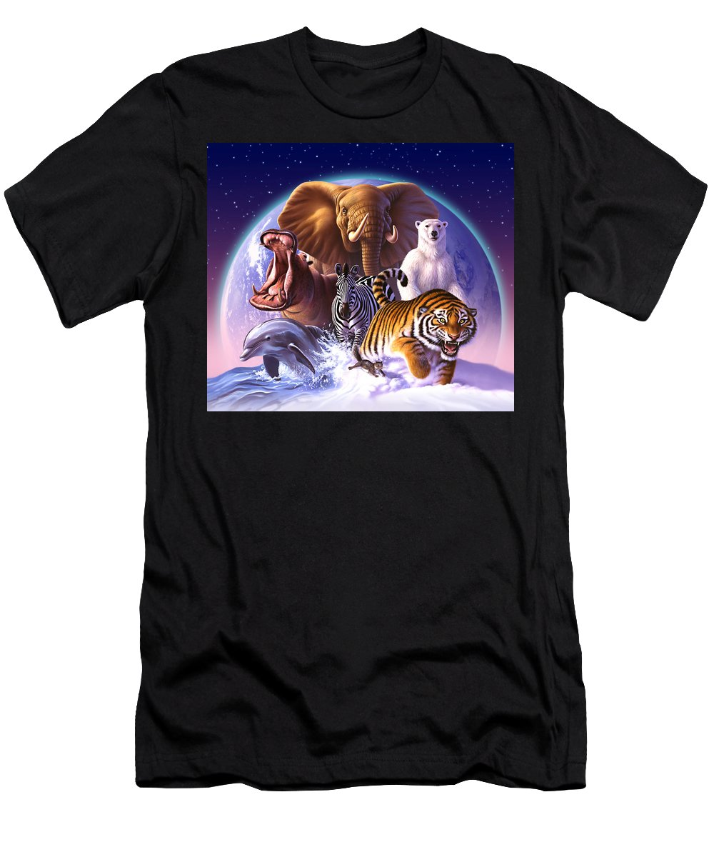 Mammals T-Shirt featuring the painting Wild World by Jerry LoFaro