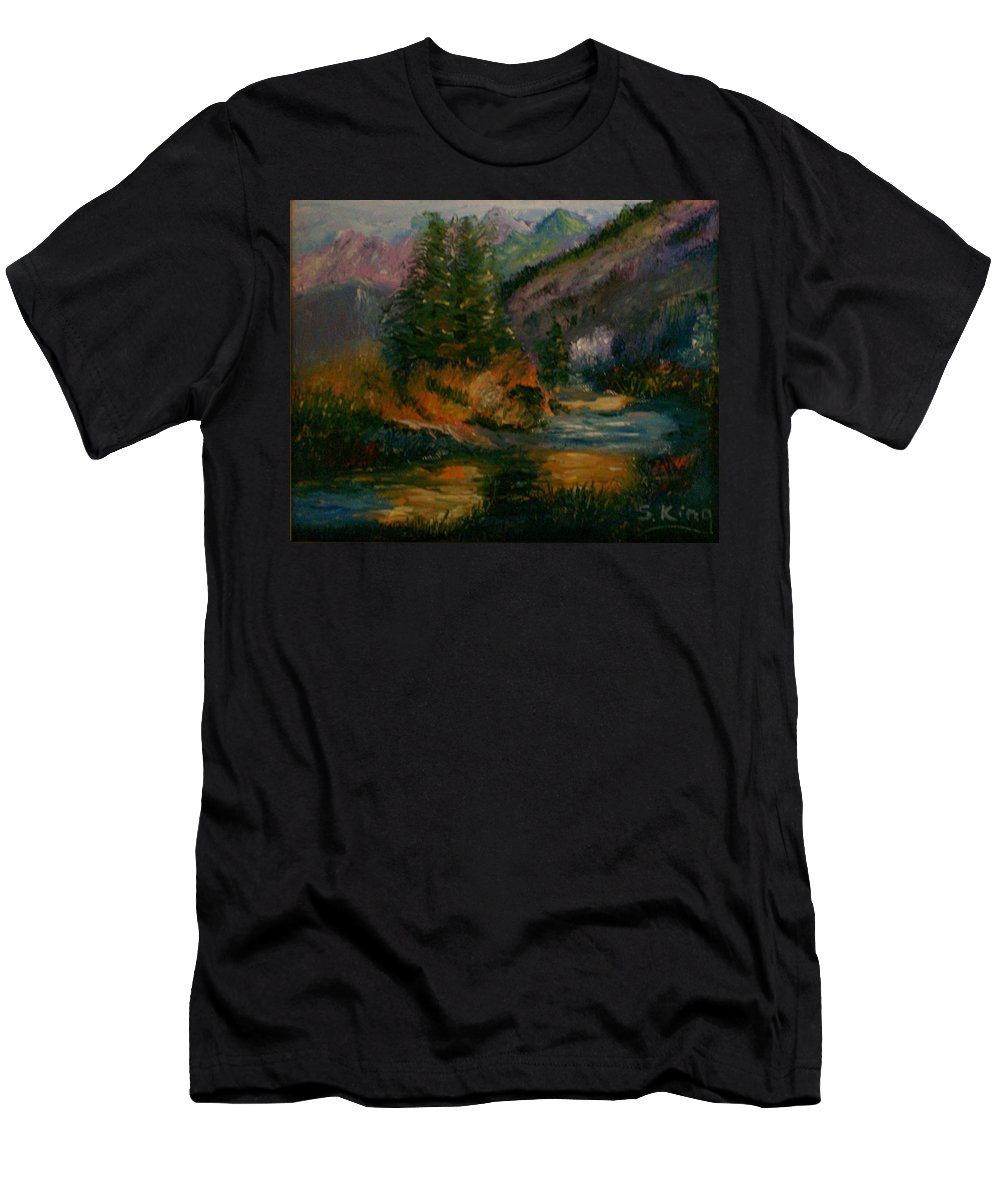 Landscape Men's T-Shirt (Athletic Fit) featuring the painting Wilderness Stream by Stephen King