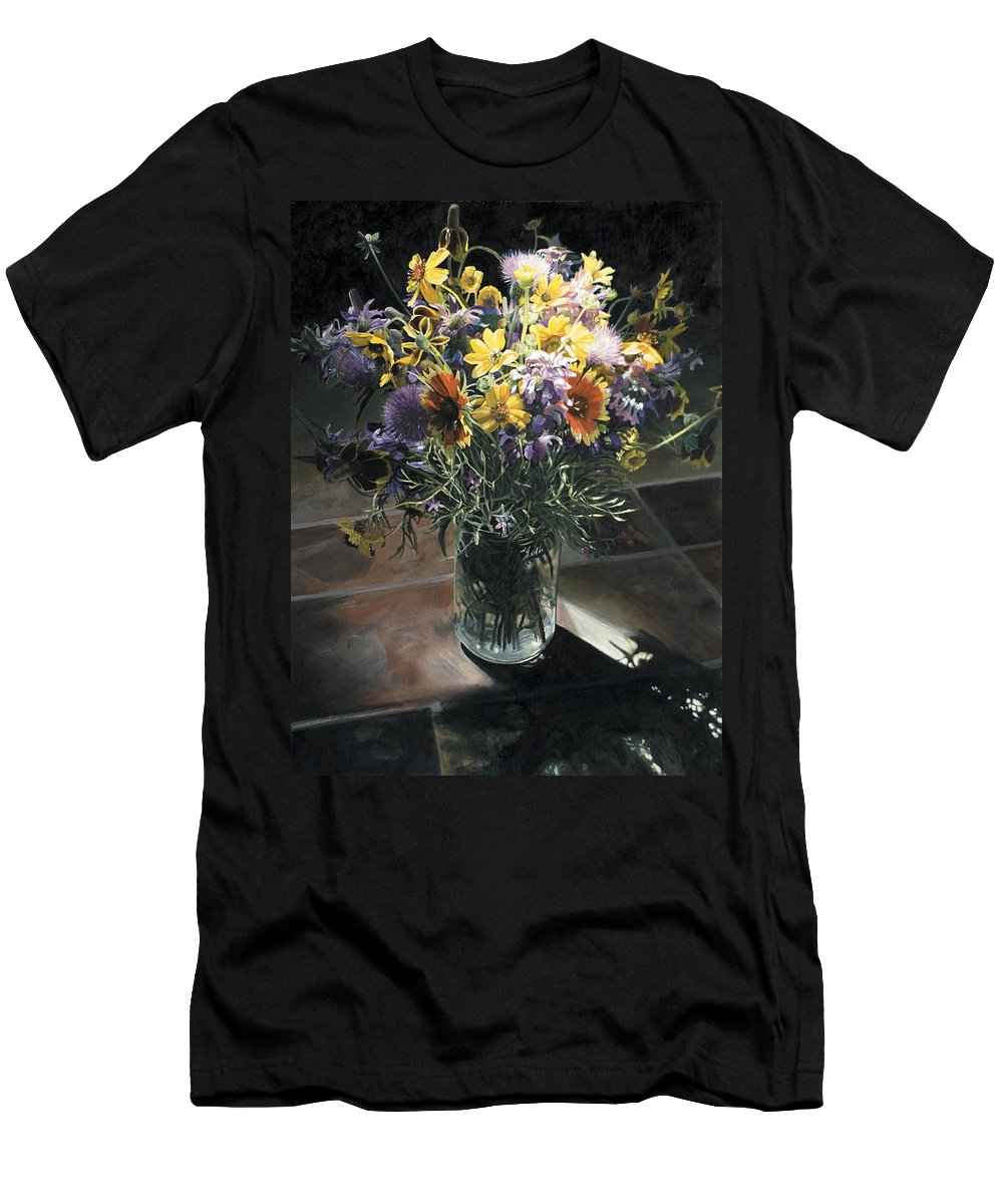 Texas Men's T-Shirt (Athletic Fit) featuring the painting Wildflower Bouquet II by Rebecca Zook