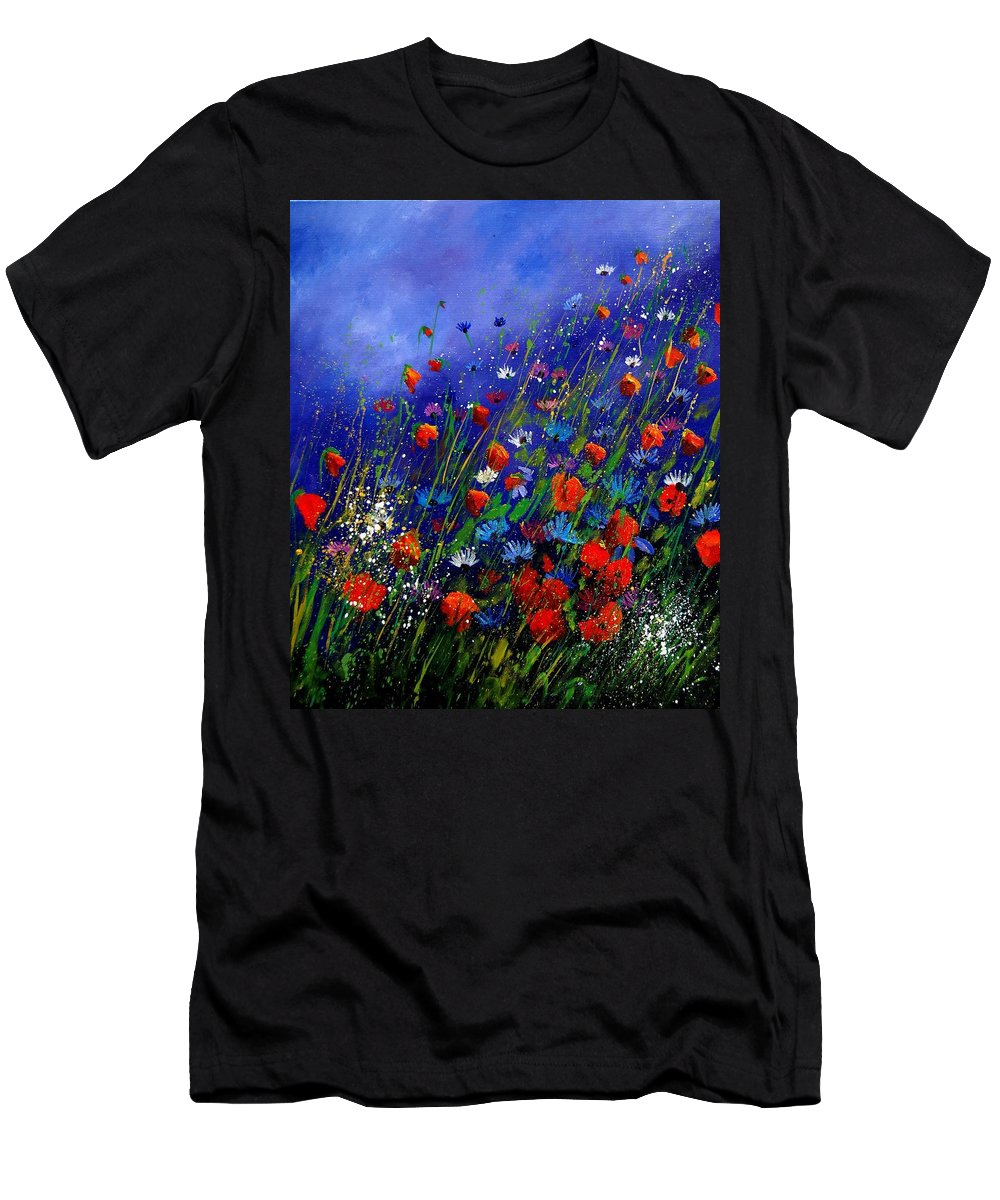 Poppies Men's T-Shirt (Athletic Fit) featuring the painting Wildflowers 78 by Pol Ledent