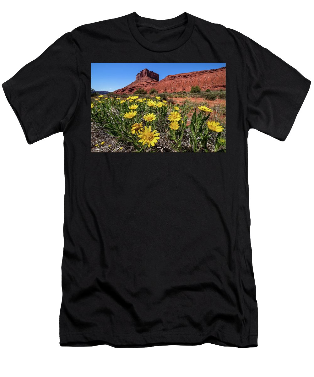 Castle Valley Men's T-Shirt (Athletic Fit) featuring the photograph Wildflowers And Butte by Peter Tellone
