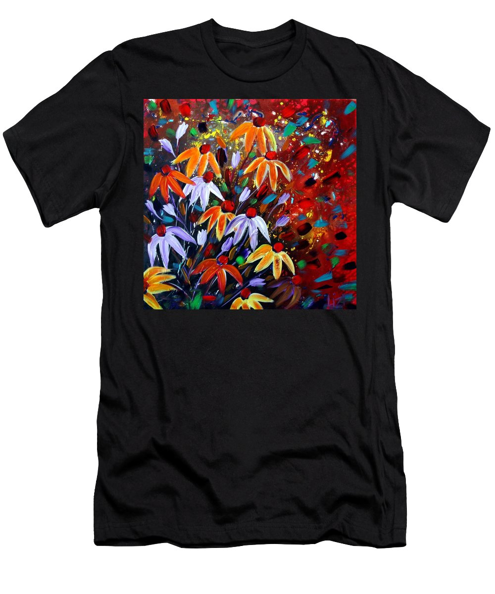 Flowers Men's T-Shirt (Athletic Fit) featuring the painting Wildflowers At Sunset by Luiza Vizoli