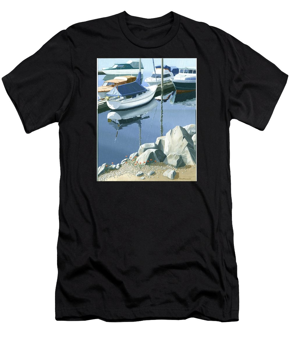 Sailboat Men's T-Shirt (Athletic Fit) featuring the painting Wildflowers On The Breakwater by Gary Giacomelli