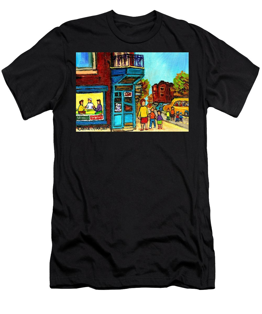 Montreal Men's T-Shirt (Athletic Fit) featuring the painting Wilensky's Counter With School Bus Montreal Street Scene by Carole Spandau