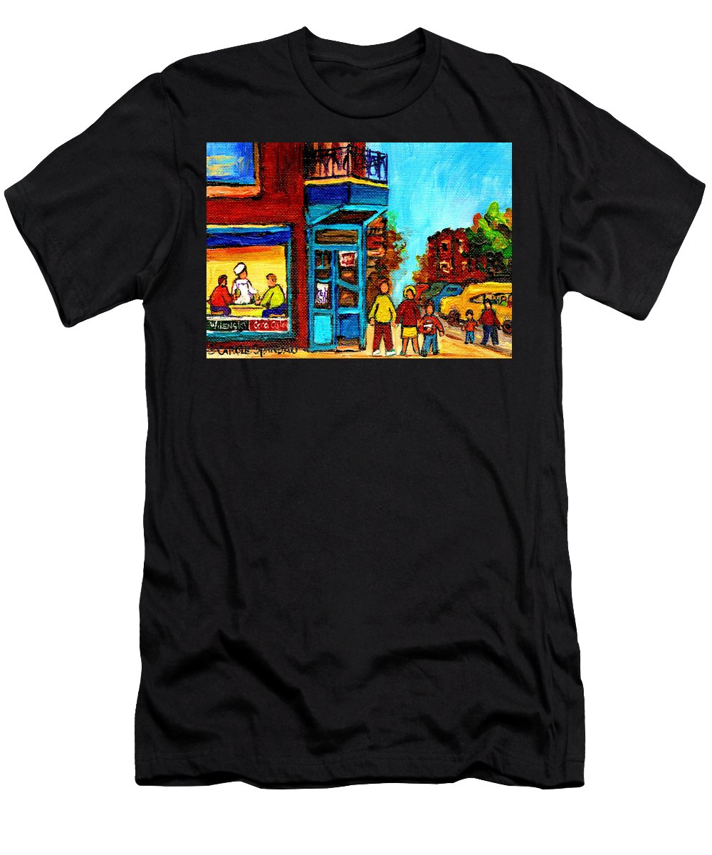 Montreal Men's T-Shirt (Athletic Fit) featuring the painting Wilensky's Lunch Counter With School Bus Montreal Street Scene by Carole Spandau