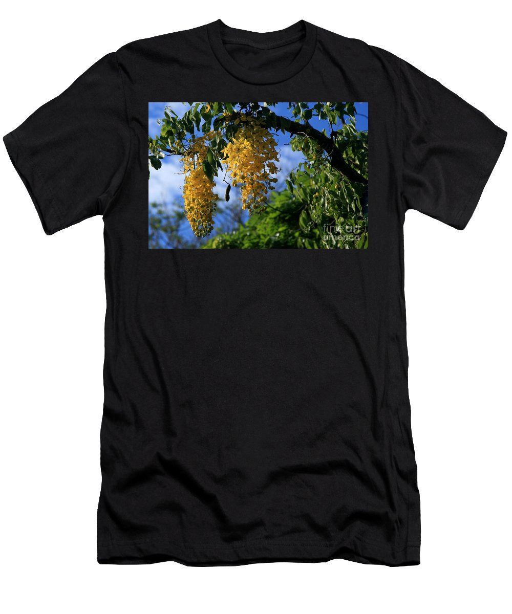 Aloha Men's T-Shirt (Athletic Fit) featuring the photograph Wilhelmina Tenney Rainbow Shower Tree Makawao Maui Flowering Trees Of Hawaii by Sharon Mau