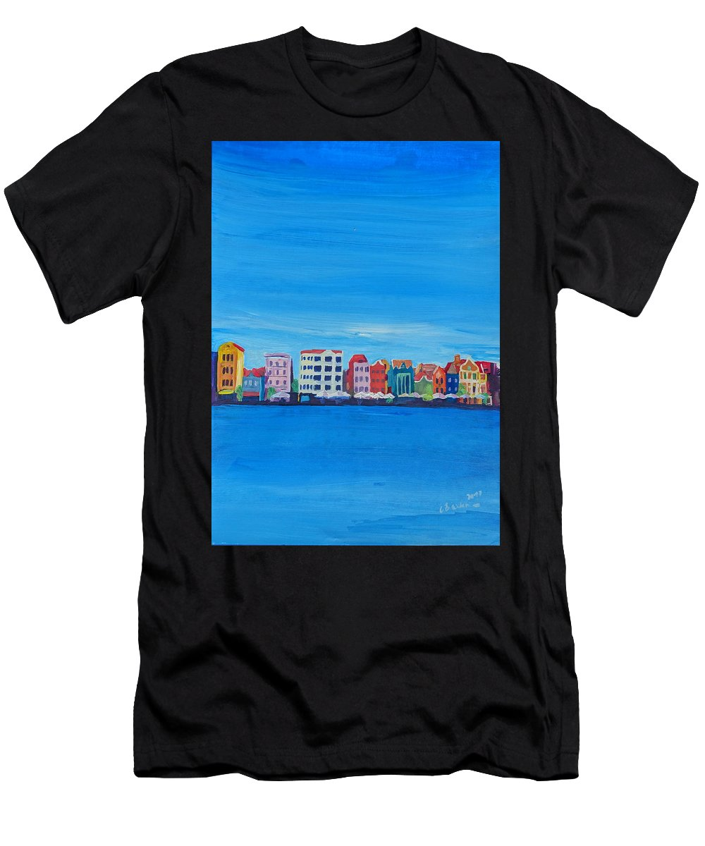 Willemstad Men's T-Shirt (Athletic Fit) featuring the painting Willemstad Curacao Waterfront In Blue by M Bleichner