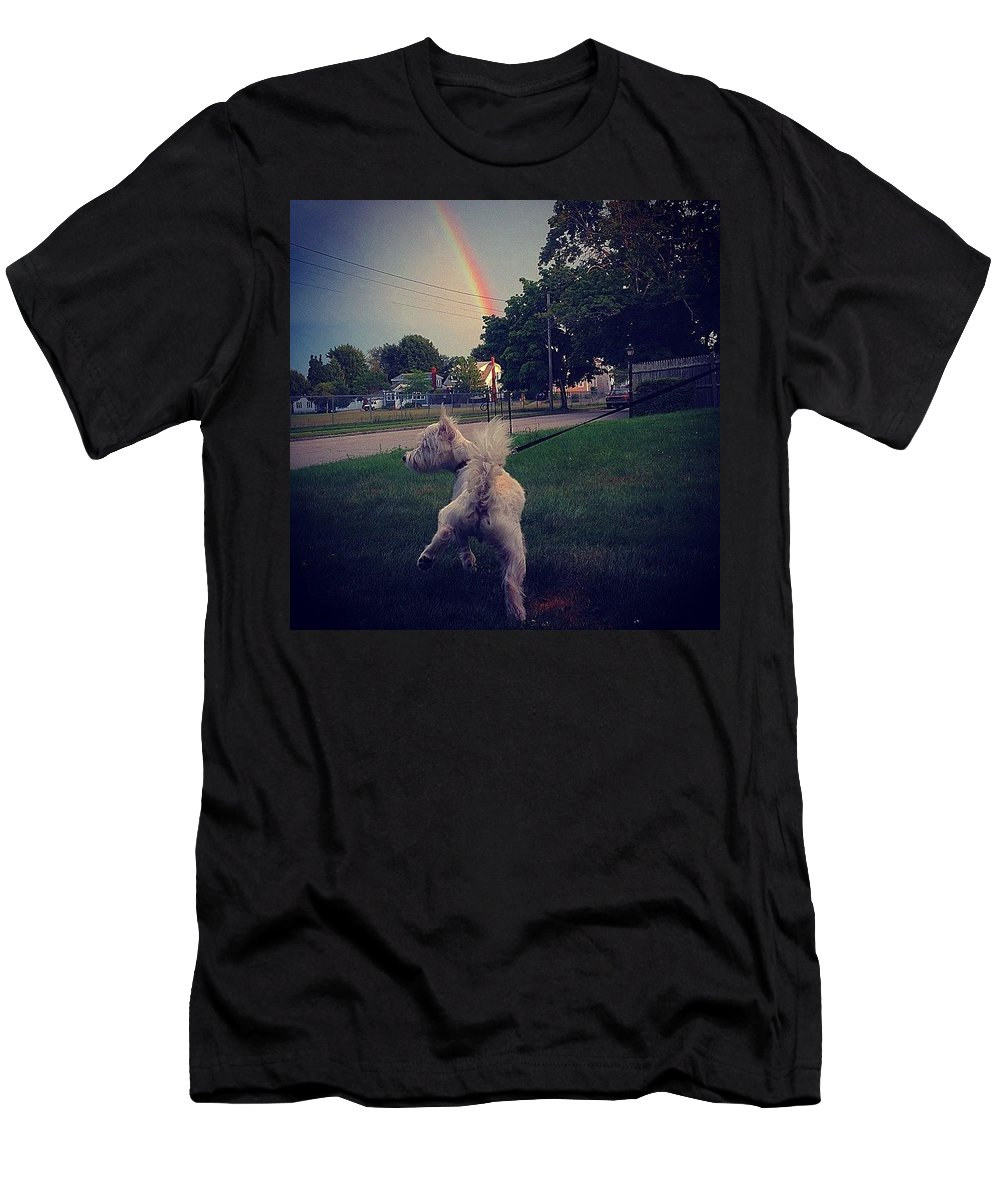 Rainbow Men's T-Shirt (Athletic Fit) featuring the photograph Gold At The End Of The Rainbow by Kate Arsenault