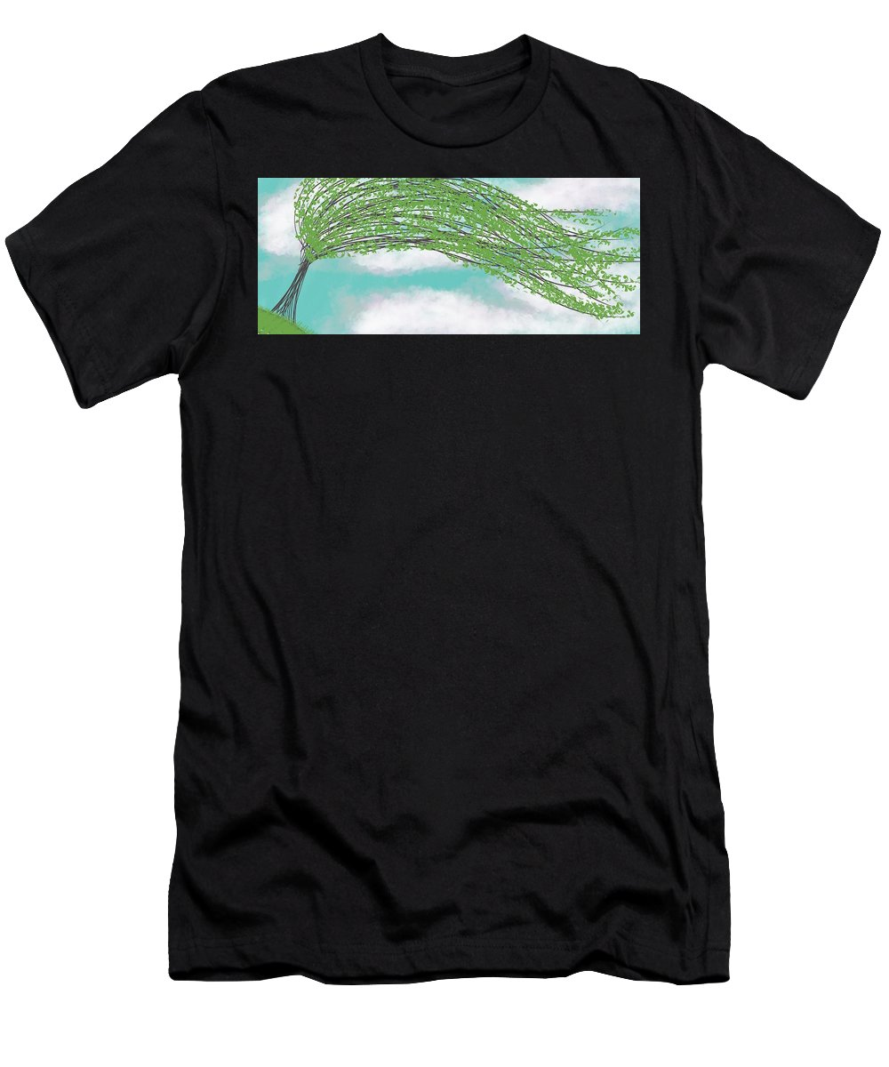 Abstract Tree Men's T-Shirt (Athletic Fit) featuring the digital art Willow by Morgan Payne