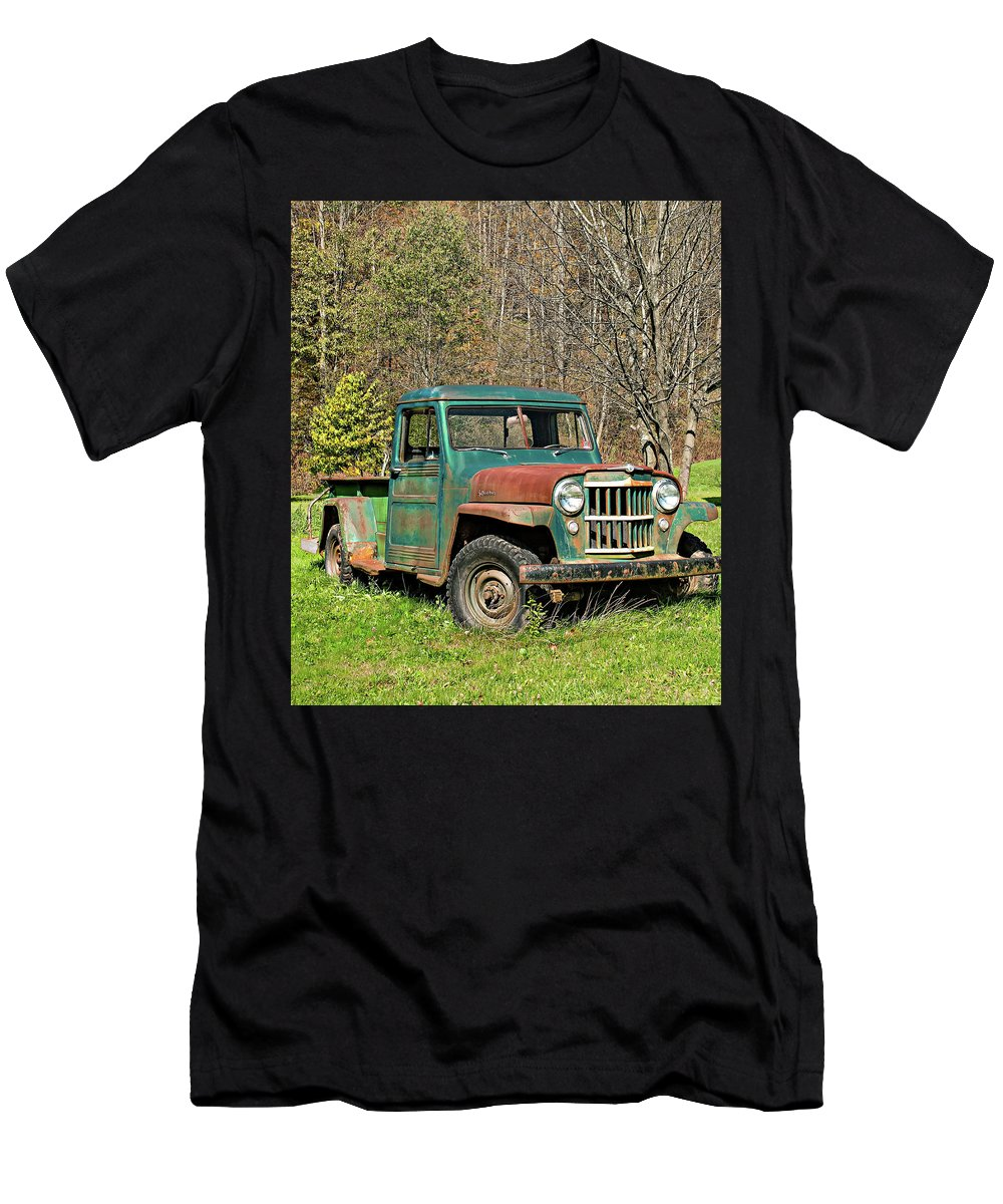 Vehicle Men's T-Shirt (Athletic Fit) featuring the photograph Willys Jeep Pickup Truck by Steve Harrington