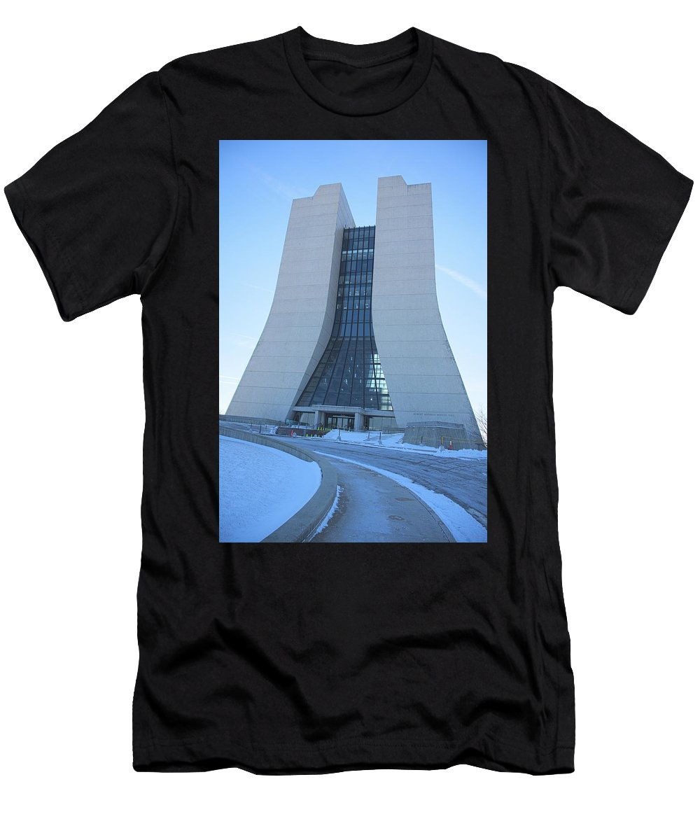 Wilson Hall Men's T-Shirt (Athletic Fit) featuring the photograph Wilson Hall At Fermilab by Timothy Ruf