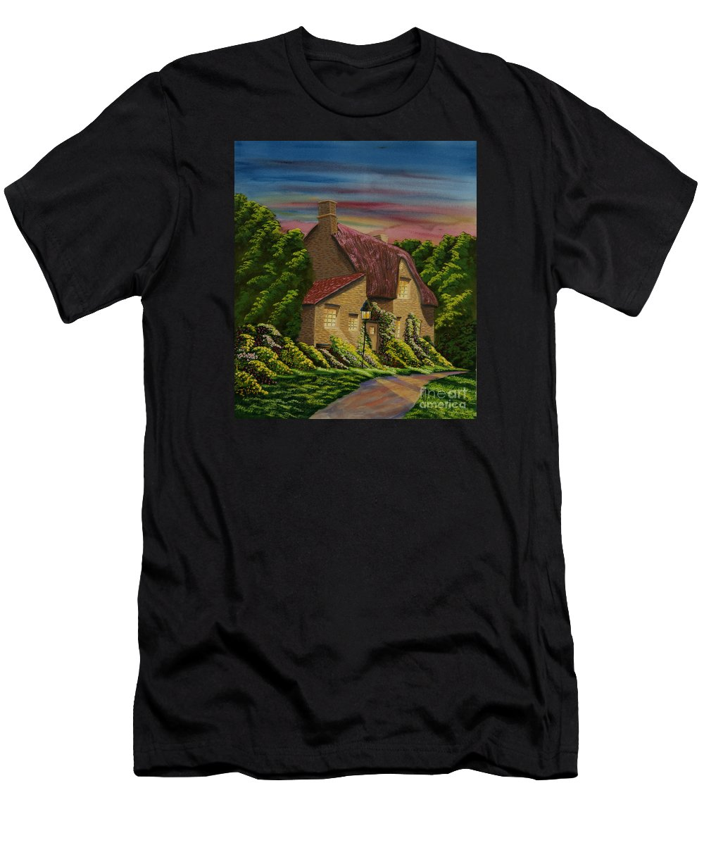 Sunset Men's T-Shirt (Athletic Fit) featuring the painting Wiltshire At Sunset by Charlotte Blanchard