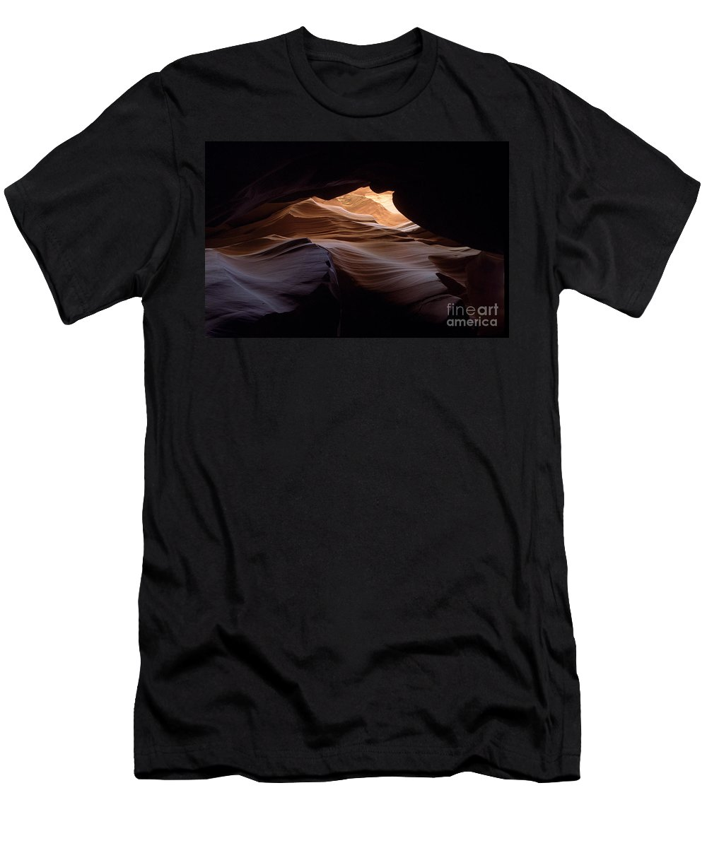 Antelope Canyon Men's T-Shirt (Athletic Fit) featuring the photograph Wind And Water by Kathy McClure