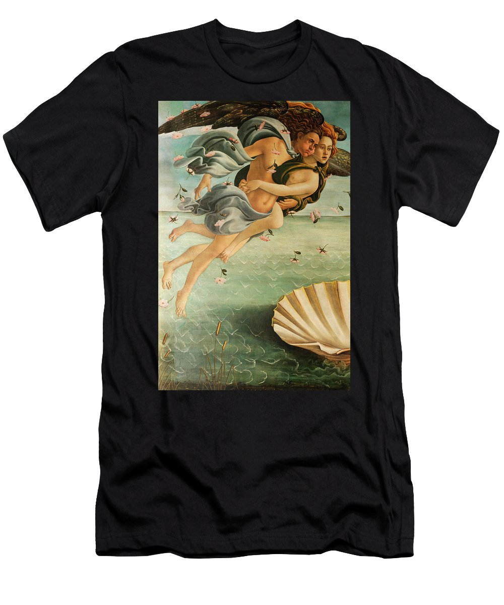 Wind God Zephyr Men's T-Shirt (Athletic Fit) featuring the painting Wind God Zephyr by Sandro Botticelli