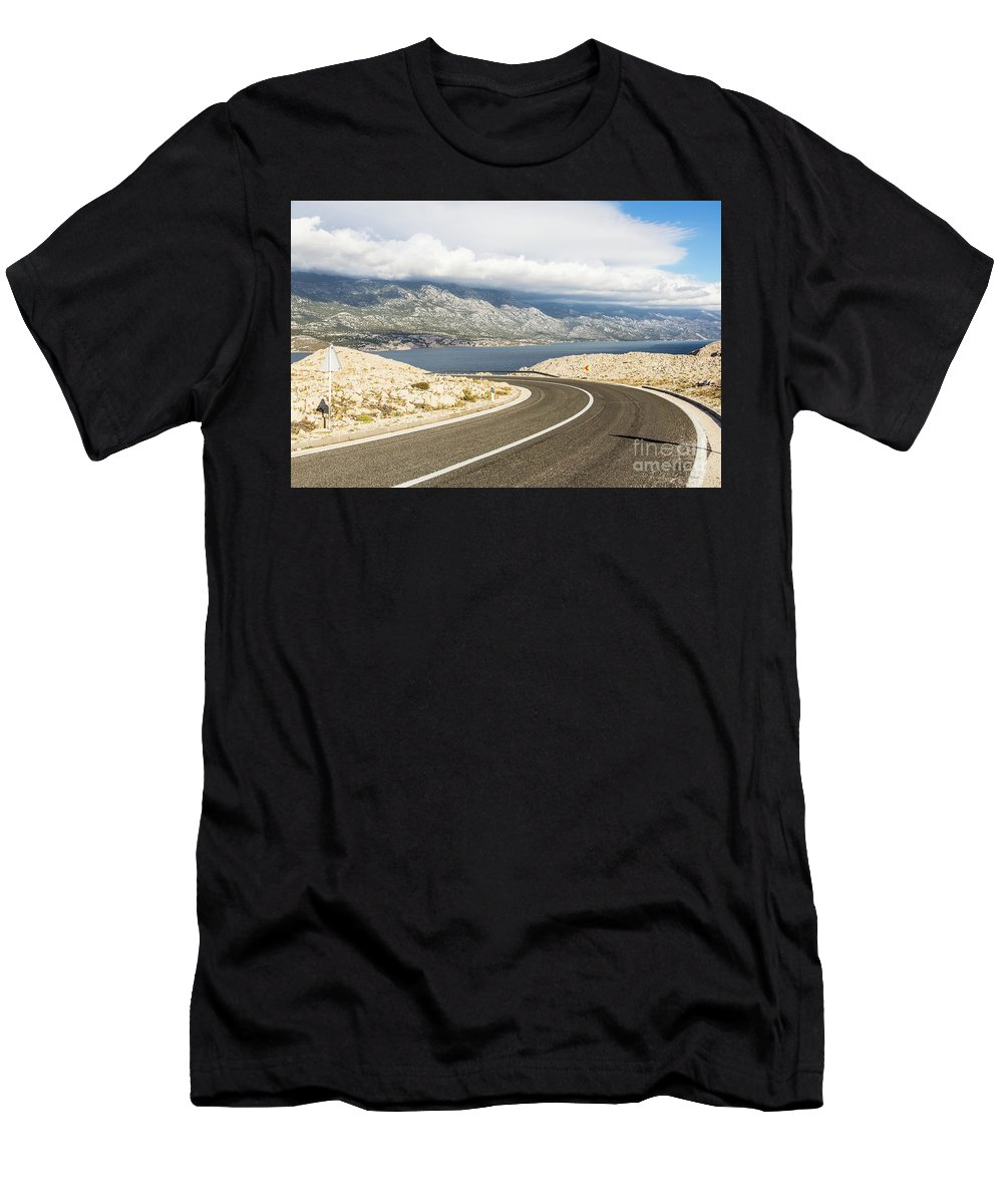 Balkans Men's T-Shirt (Athletic Fit) featuring the photograph Winding Road In Croatia by Didier Marti