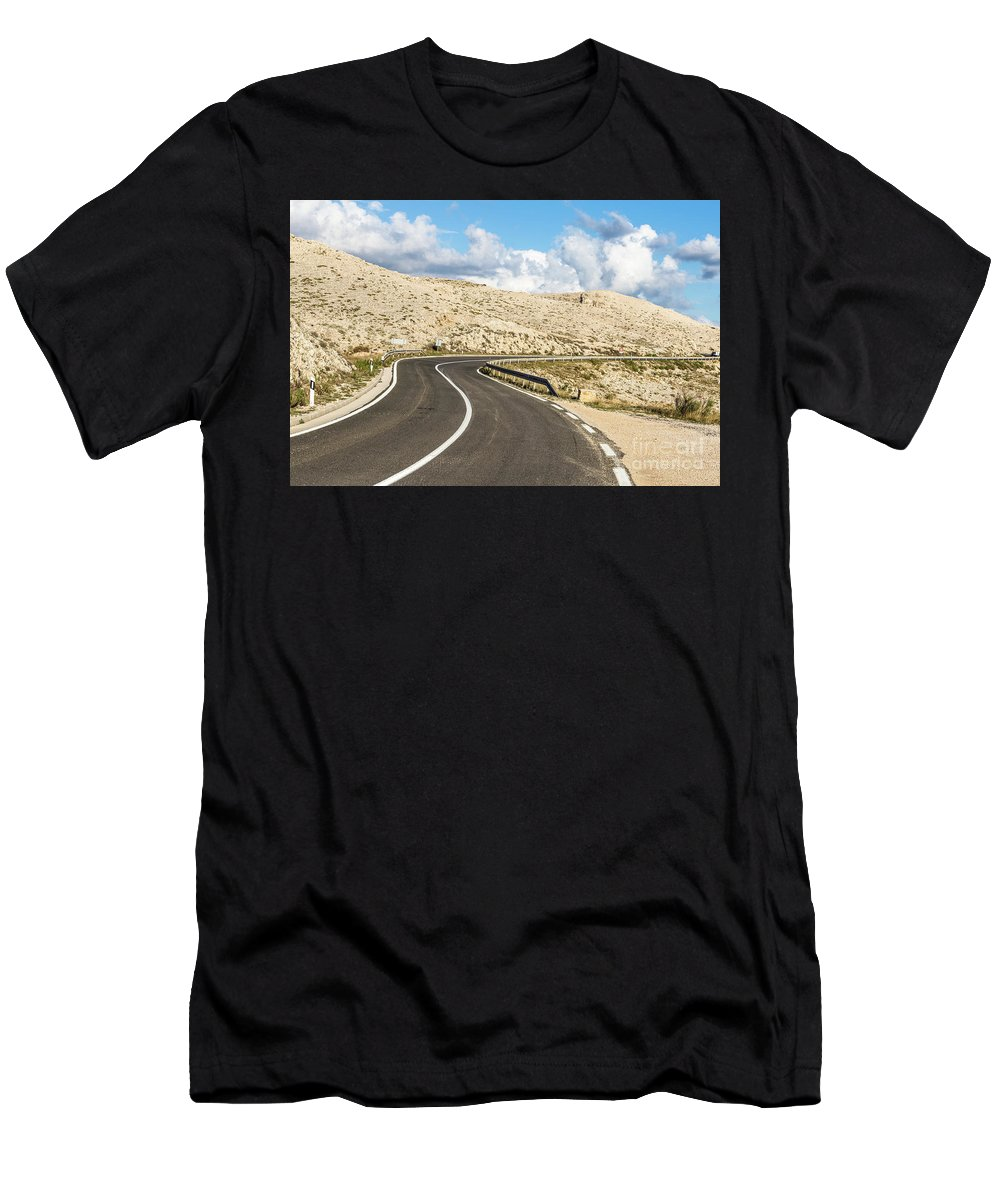 Balkans Men's T-Shirt (Athletic Fit) featuring the photograph Winding Road On The Pag Island In Croatia by Didier Marti