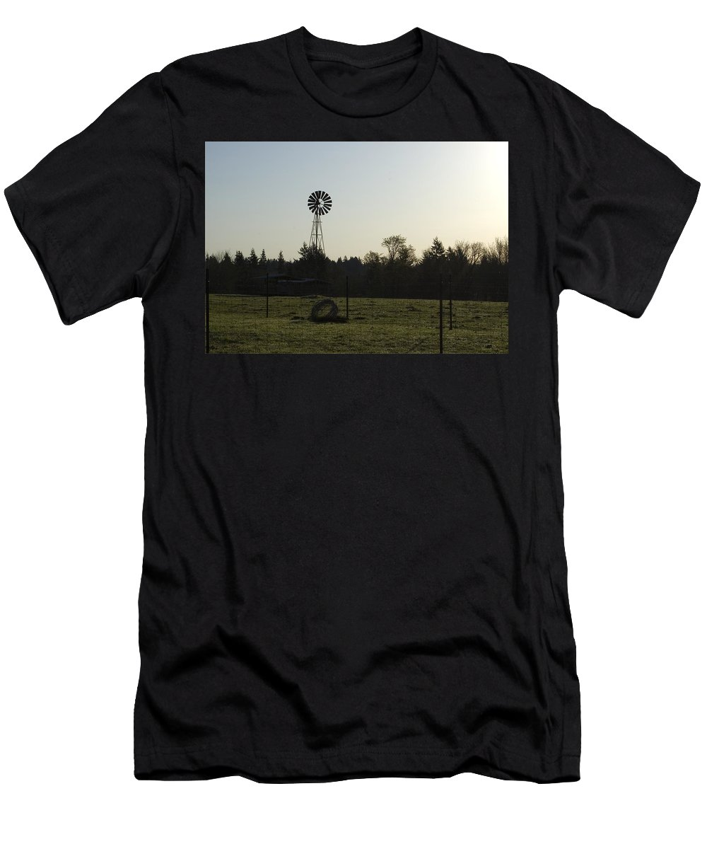 Windmill Men's T-Shirt (Athletic Fit) featuring the photograph Windmill 1 by Sara Stevenson