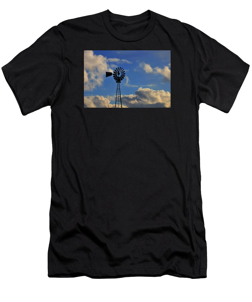 Windmill Men's T-Shirt (Athletic Fit) featuring the photograph Windmill by David Arment