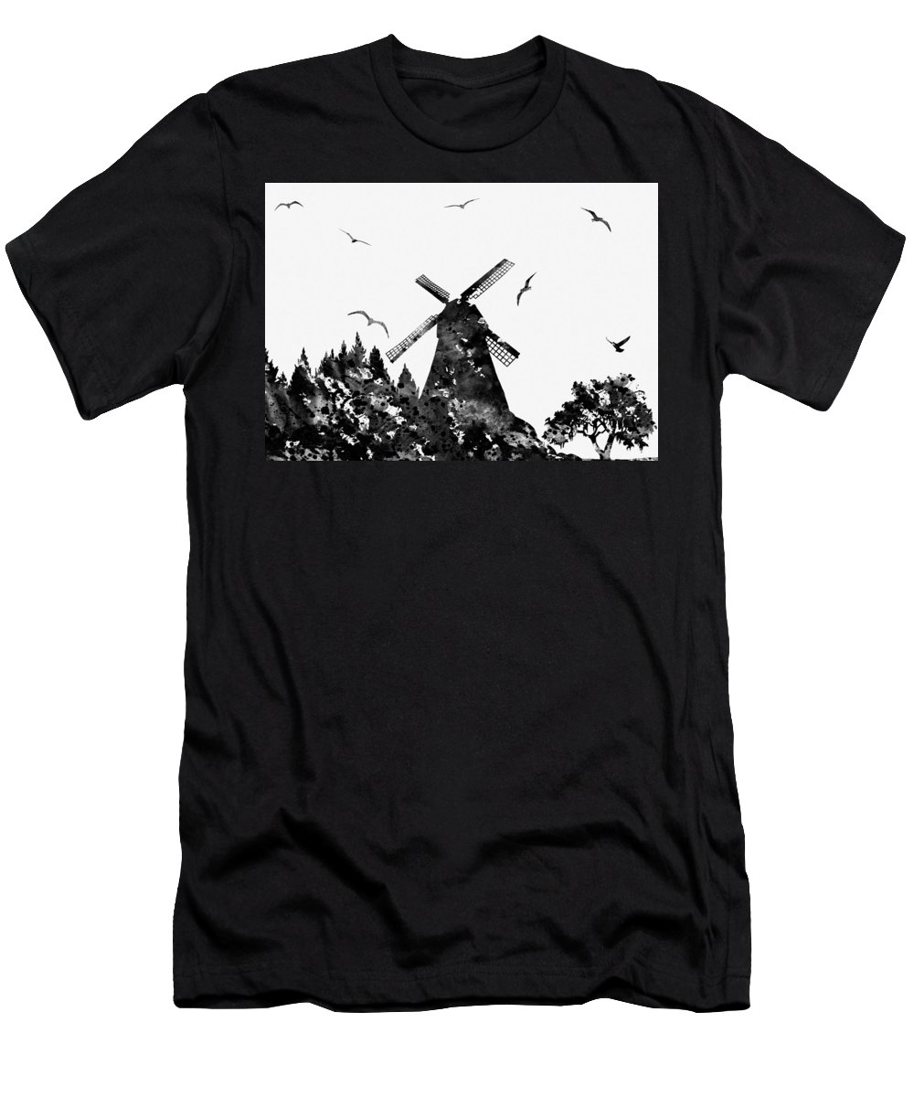 Windmill With Landscape Men's T-Shirt (Athletic Fit) featuring the digital art Windmill by Erzebet S