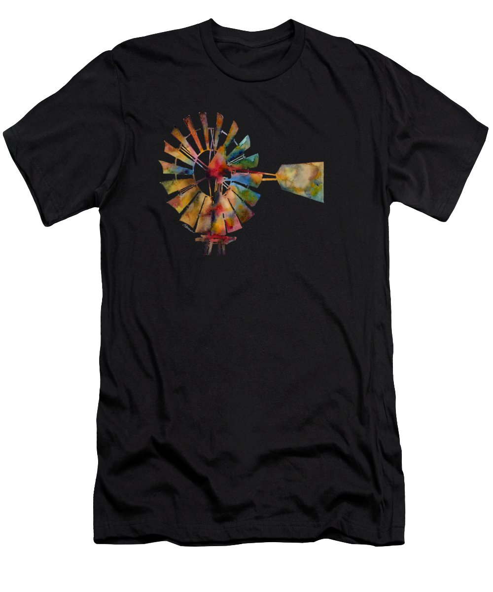 Windmill T-Shirt featuring the painting Windmill by Hailey E Herrera