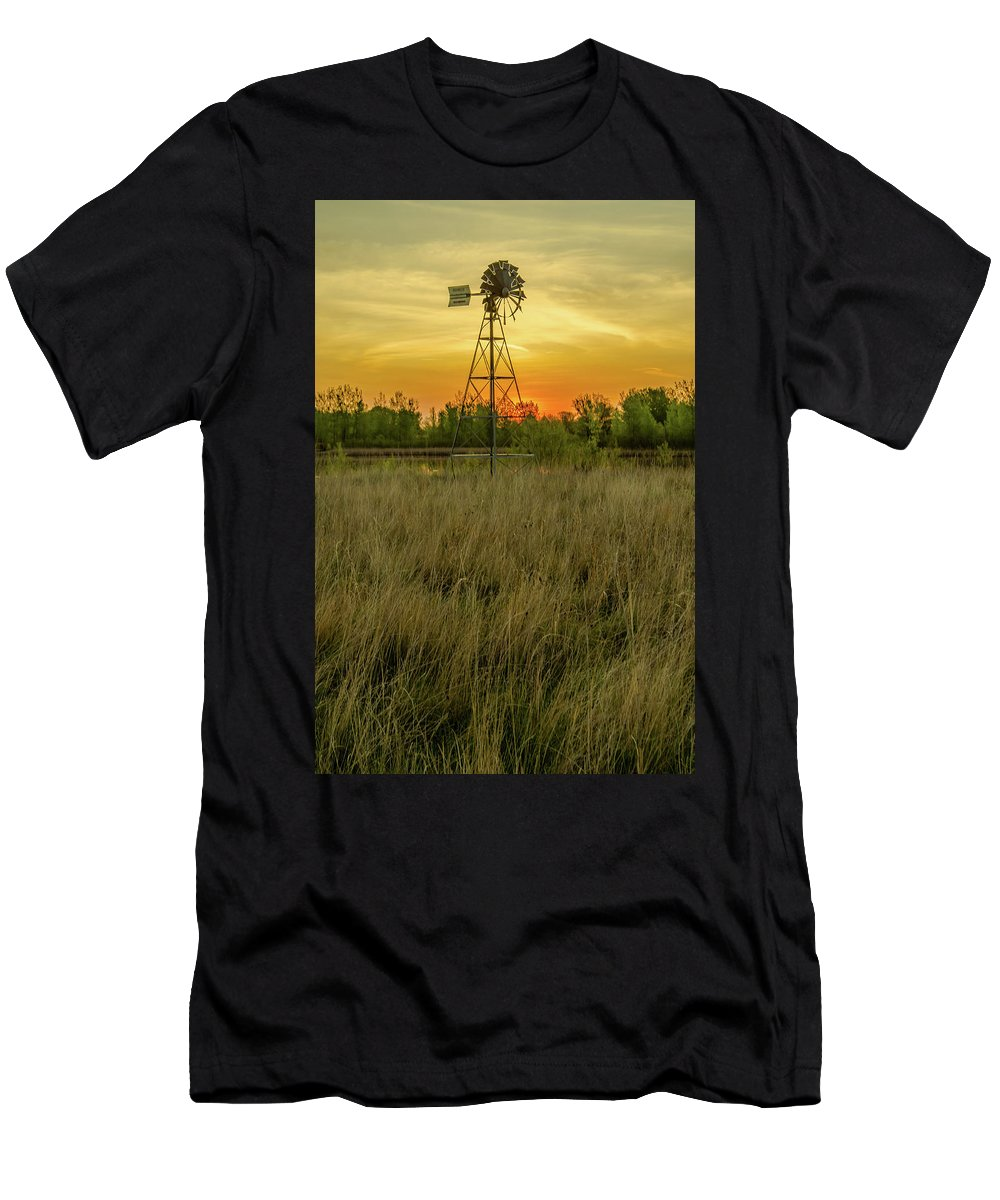 Windmill Men's T-Shirt (Athletic Fit) featuring the photograph Windmill On The Prairie by Lowlight Images