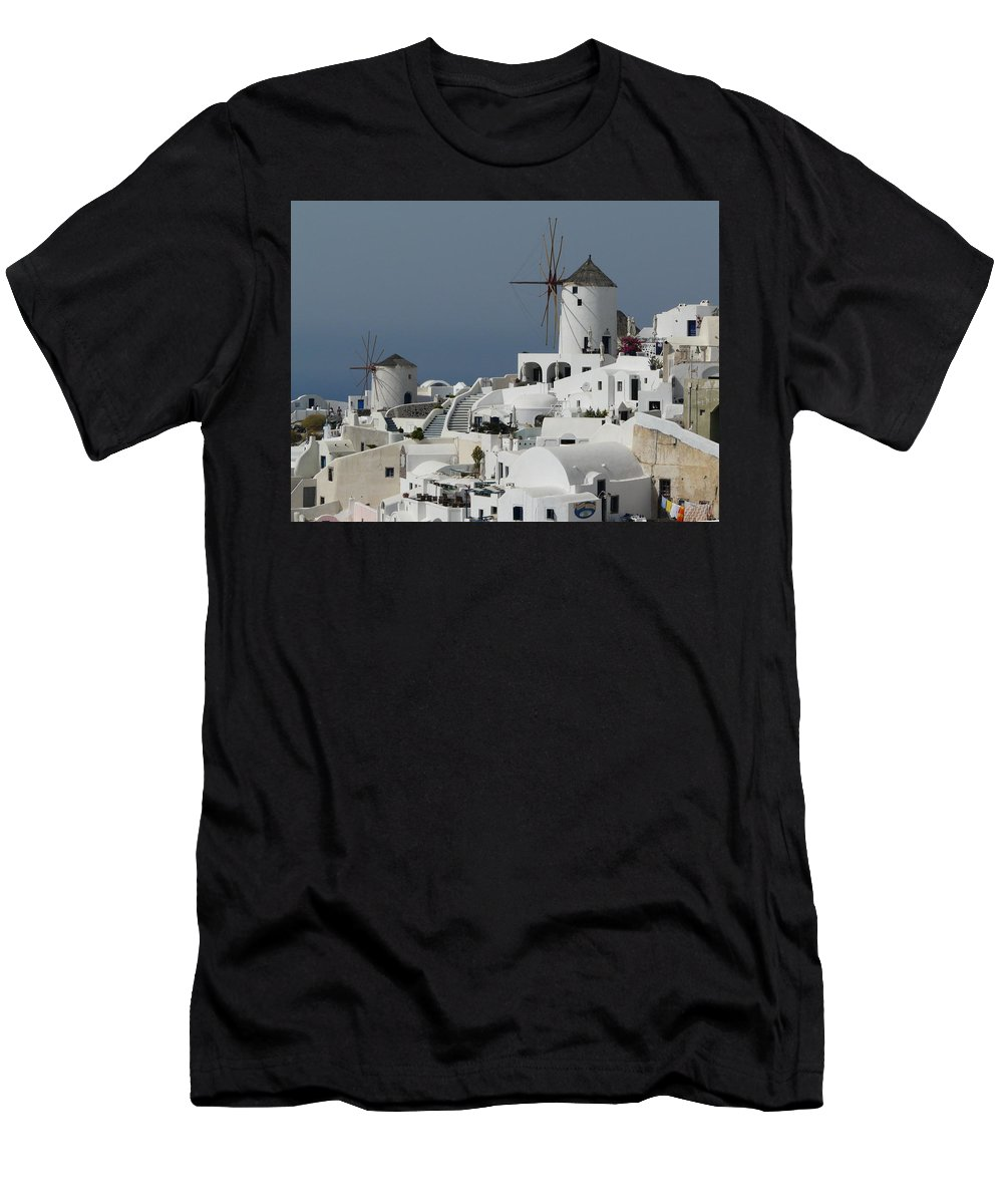 Santorin Men's T-Shirt (Athletic Fit) featuring the photograph Windmills Of Santorini by Valerie Ornstein