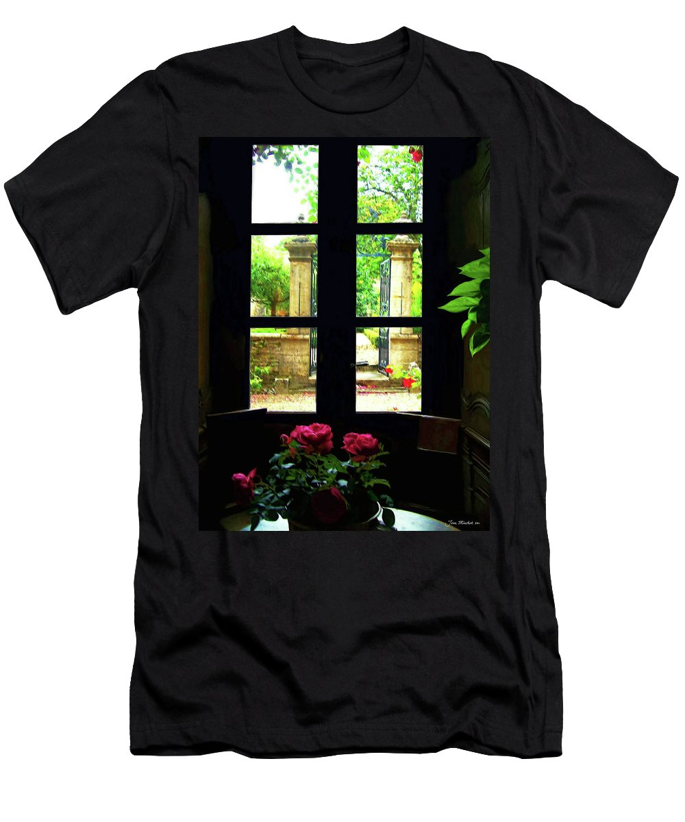 Botanical Men's T-Shirt (Athletic Fit) featuring the digital art Window And Roses by Joan Minchak