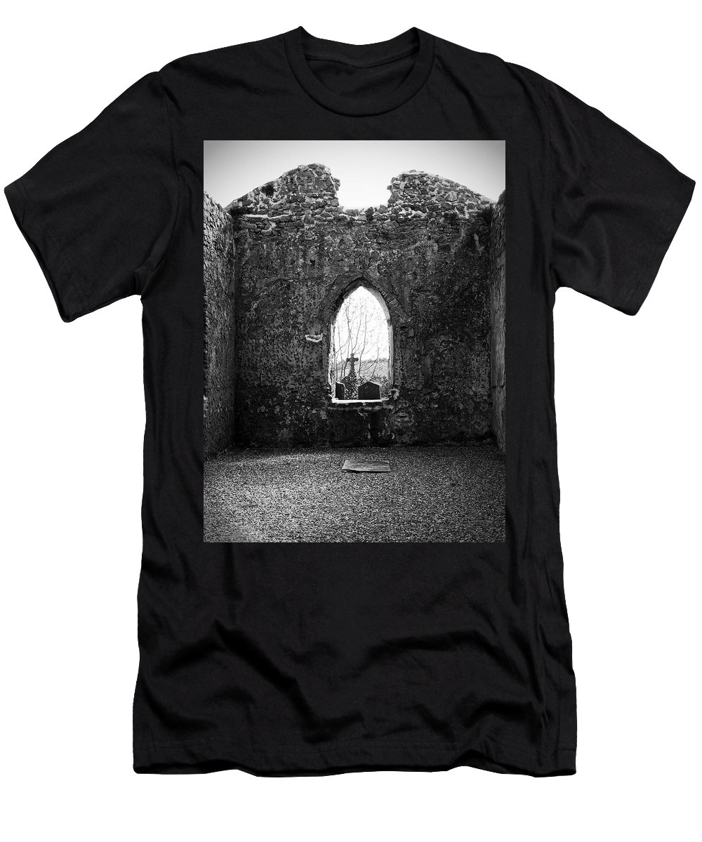 Ireland Men's T-Shirt (Athletic Fit) featuring the photograph Window At Fuerty Church Roscommon Ireland by Teresa Mucha