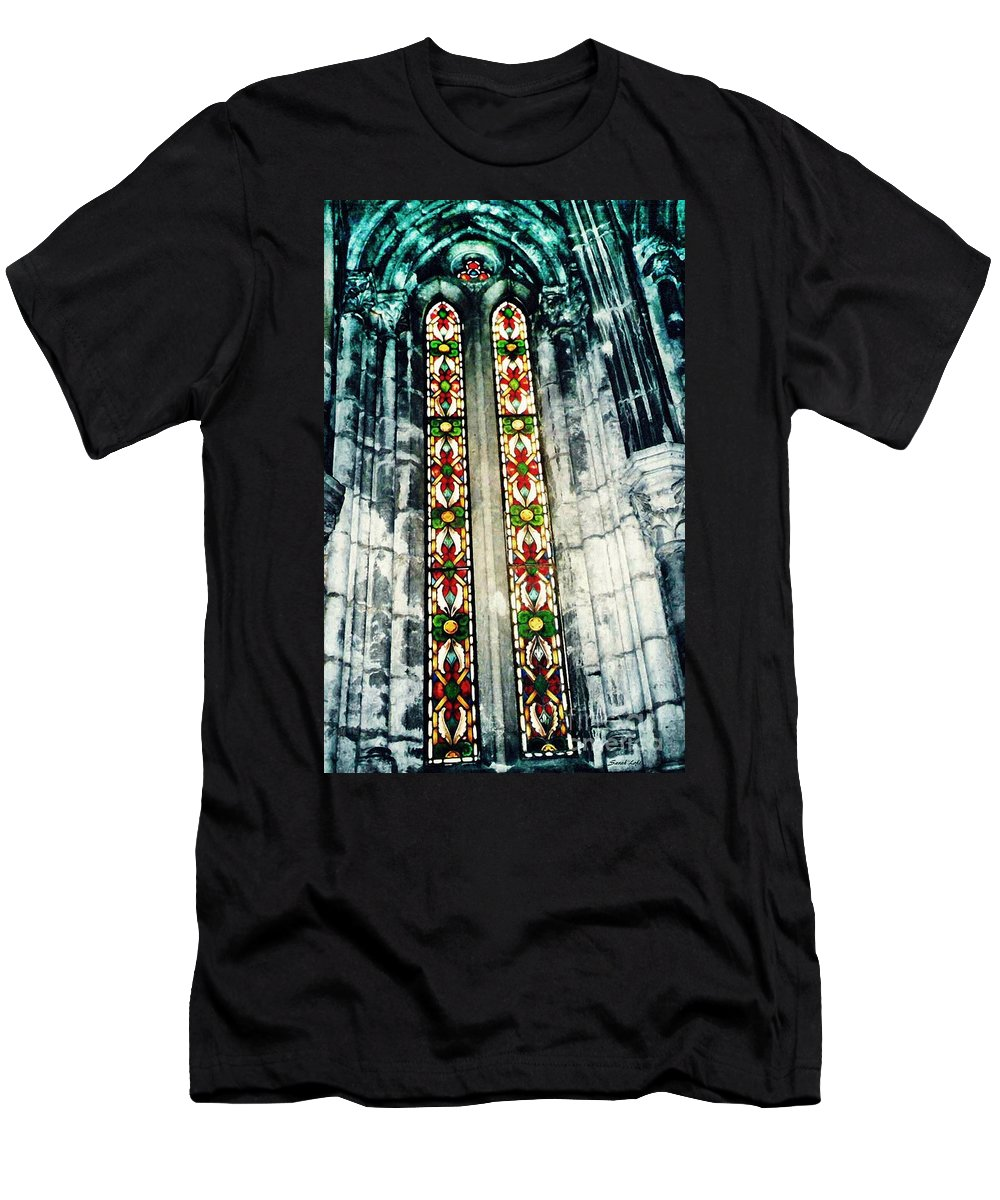 Window Men's T-Shirt (Athletic Fit) featuring the photograph Window In The Lisbon Cathedral by Sarah Loft