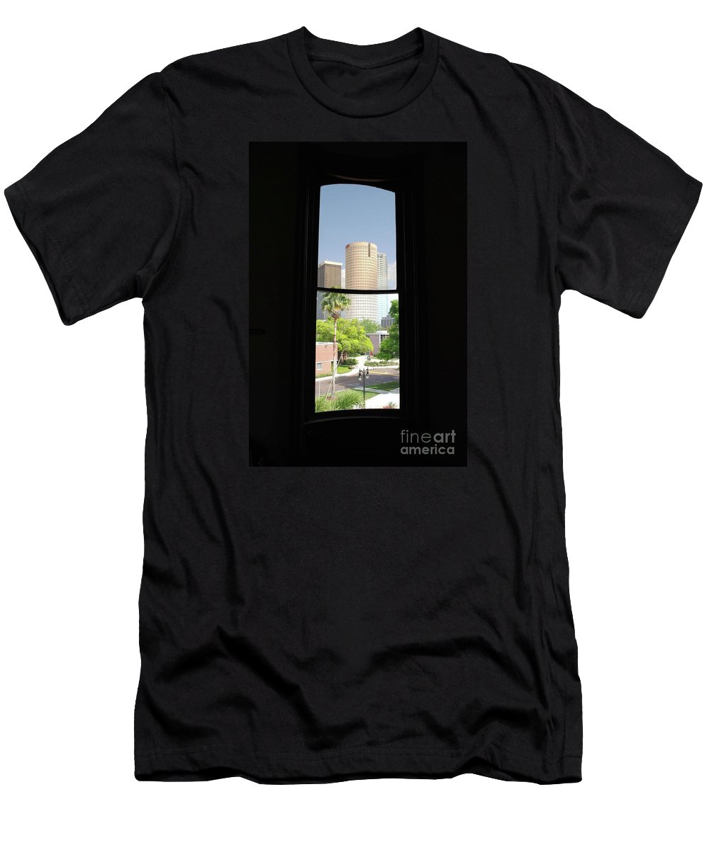 Downtown Men's T-Shirt (Athletic Fit) featuring the photograph Window Of Downtown by Jost Houk