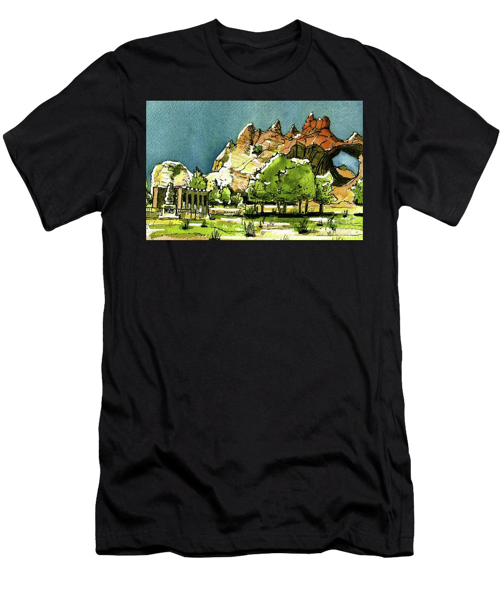 Window Rock Men's T-Shirt (Athletic Fit) featuring the painting Window Rock Arizona by Terry Banderas