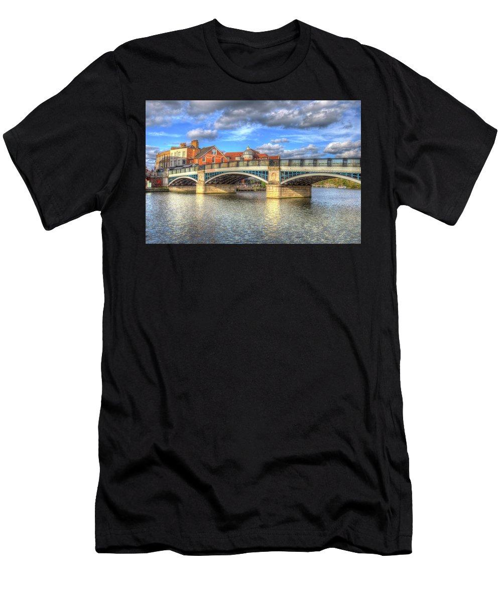 Windsor Bridge Men's T-Shirt (Athletic Fit) featuring the photograph Windsor Bridge River Thames by David Pyatt