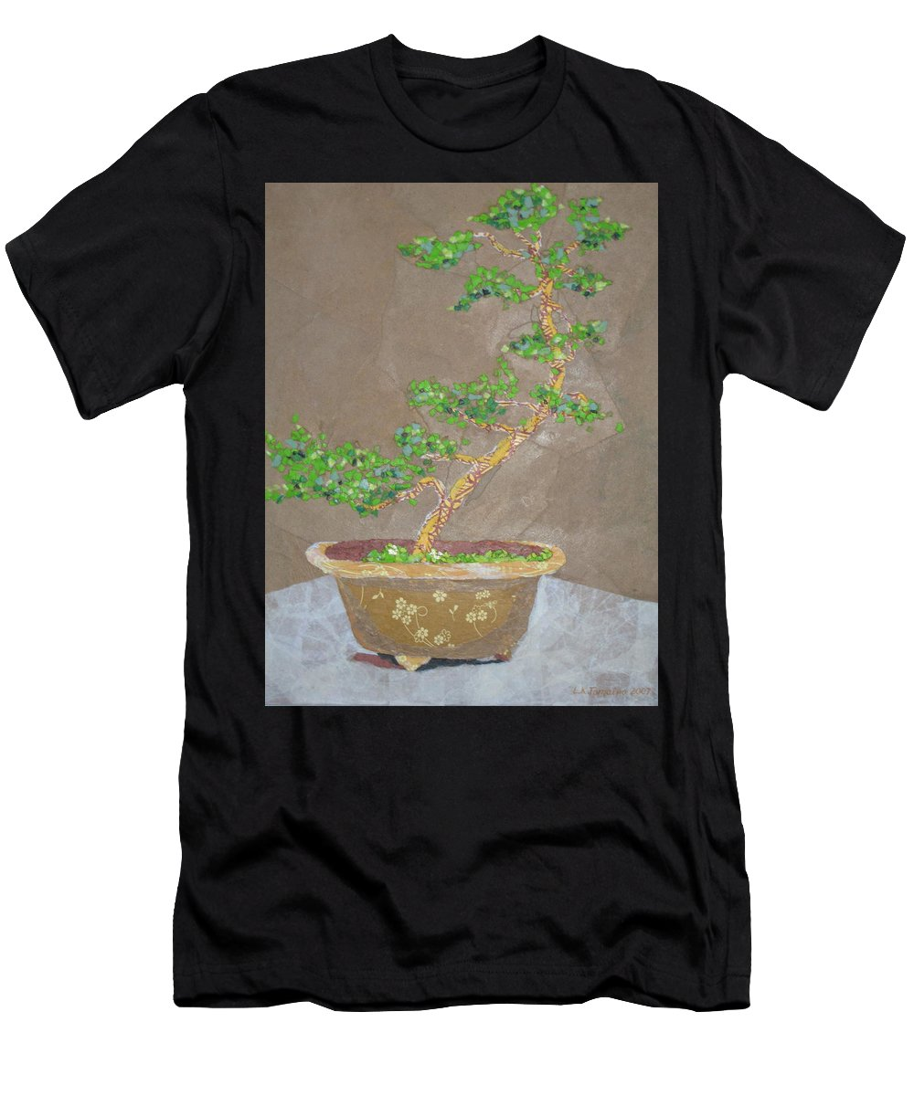 Banzai Tree Men's T-Shirt (Athletic Fit) featuring the painting Windswept Juniper by Leah Tomaino