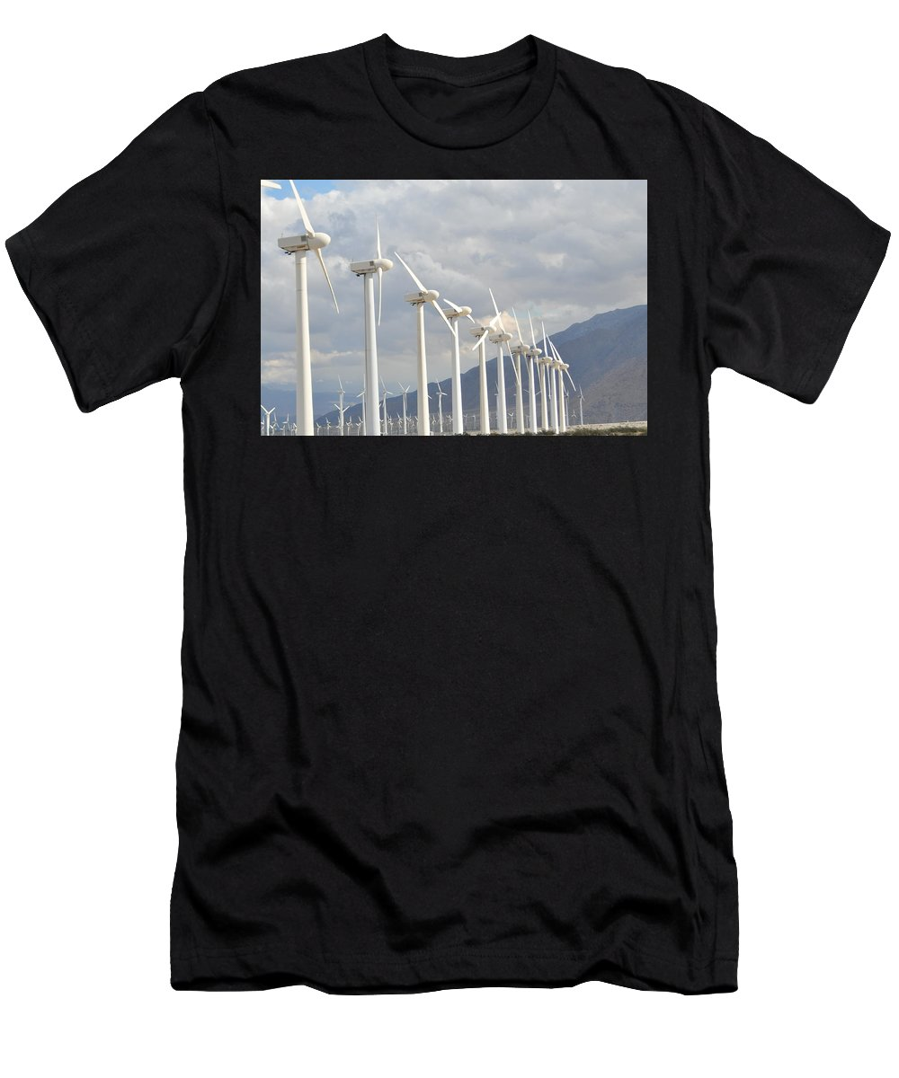 Wind Men's T-Shirt (Athletic Fit) featuring the photograph Windturbines by Cheryl Carder-Hall