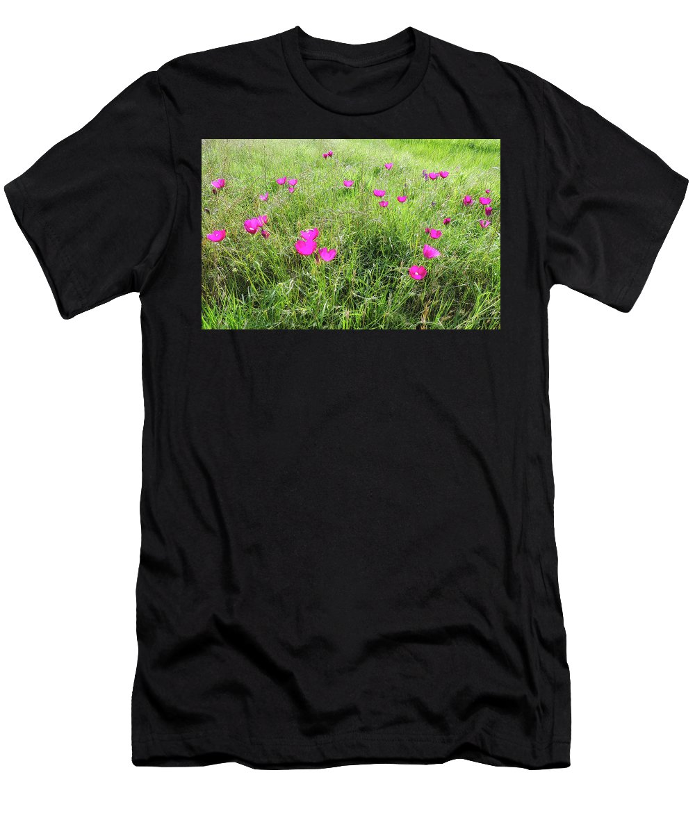 Flowers Men's T-Shirt (Athletic Fit) featuring the photograph Winecup Flowers by Lindy Pollard