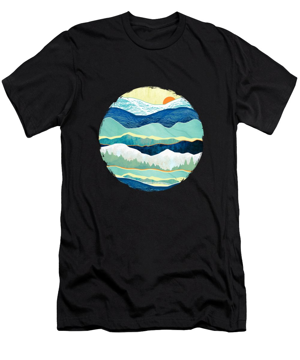 Winter Men's T-Shirt (Athletic Fit) featuring the digital art Winter Afternoon by Spacefrog Designs