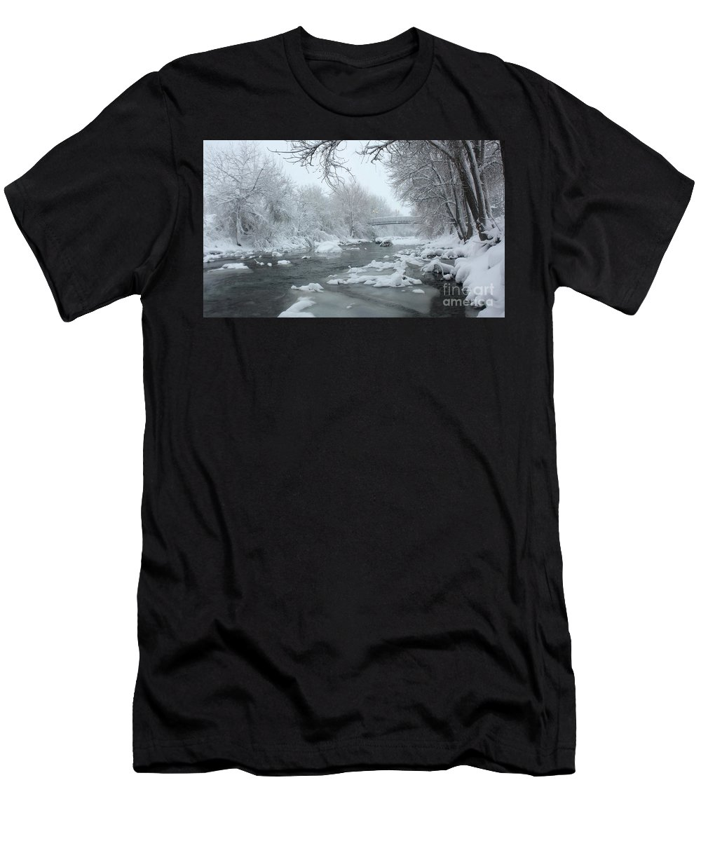 Clear Creek Men's T-Shirt (Athletic Fit) featuring the photograph Winter Along Clear Creek by Andrew Terrill