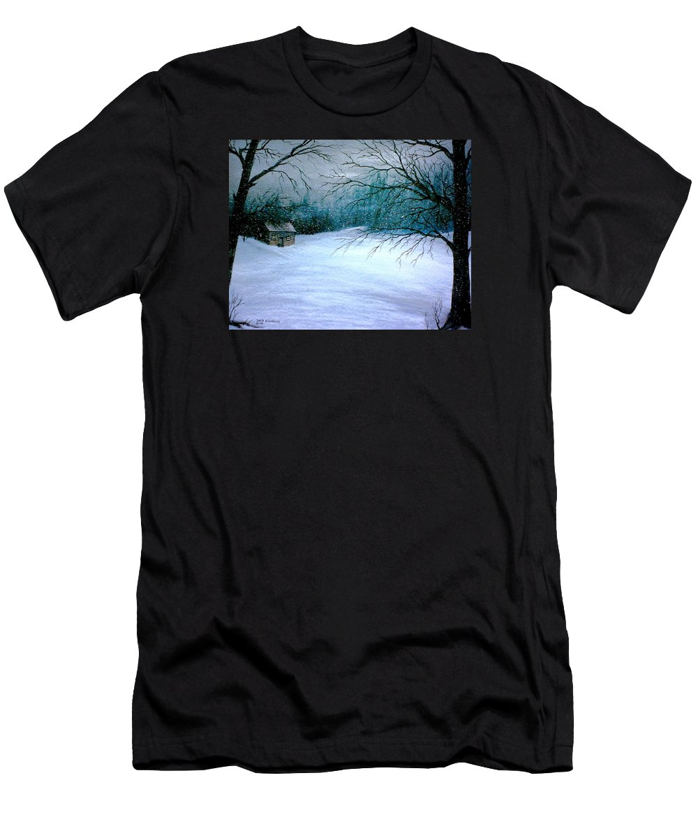 Snow Men's T-Shirt (Athletic Fit) featuring the painting Winter Cabin by David Richardson